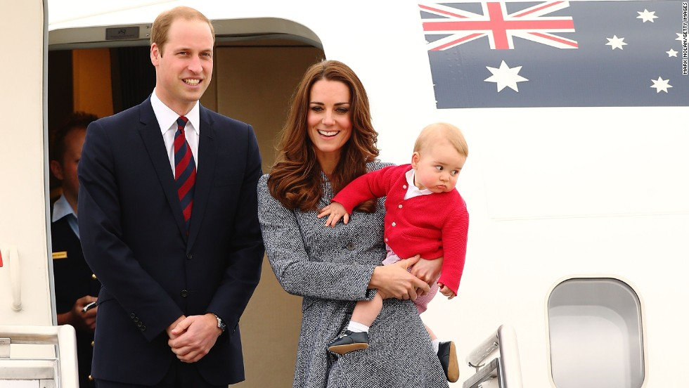 Catherine, Duchess of Cambridge; Prince William, Duke of Cambridge; and Prince George of Cambridge depart RAAF Base Fairbairn on Friday, April 25, to head back to the UK after a three-week tour of Australia and New Zealand, their first official trip overseas with the 8-month-old prince.