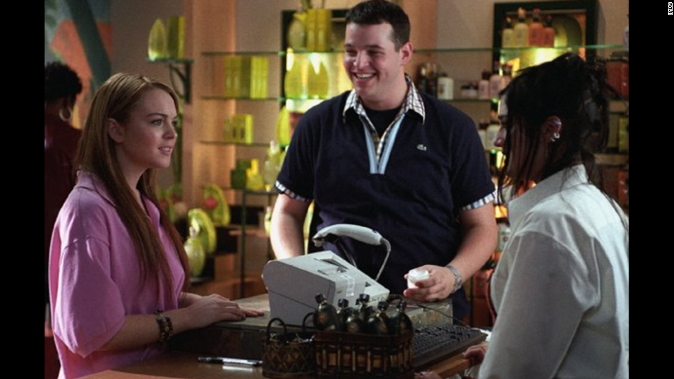 "Daniel Franzese (seen here with Lindsay Lohan and Lizzy Caplan) plays the witty sidekick Damian, who was ""too gay to function."" Caplan plays Janis Ian, who is determined to take down the Plastics, aka the most popular girls in their high school."
