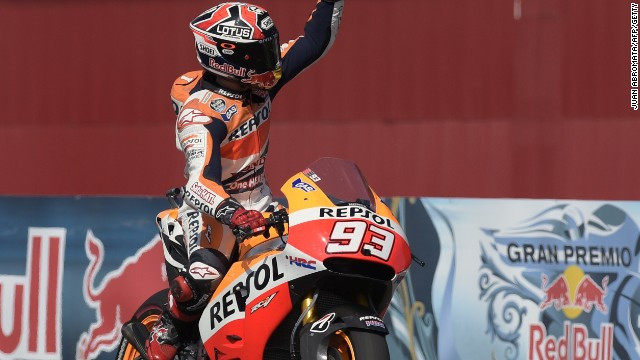 Marc Marquez crosses the finishing line to win the Argentina MotoGP for his third victory of the season.
