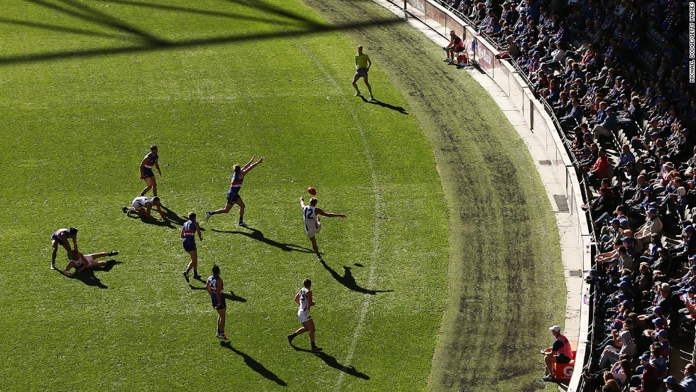 Daniel Talia of the Adelaide Crows kicks the ball during an Australian Football League match against the Western Bulldogs on Sunday, April 27. The Crows won the match, which took place in Melbourne.