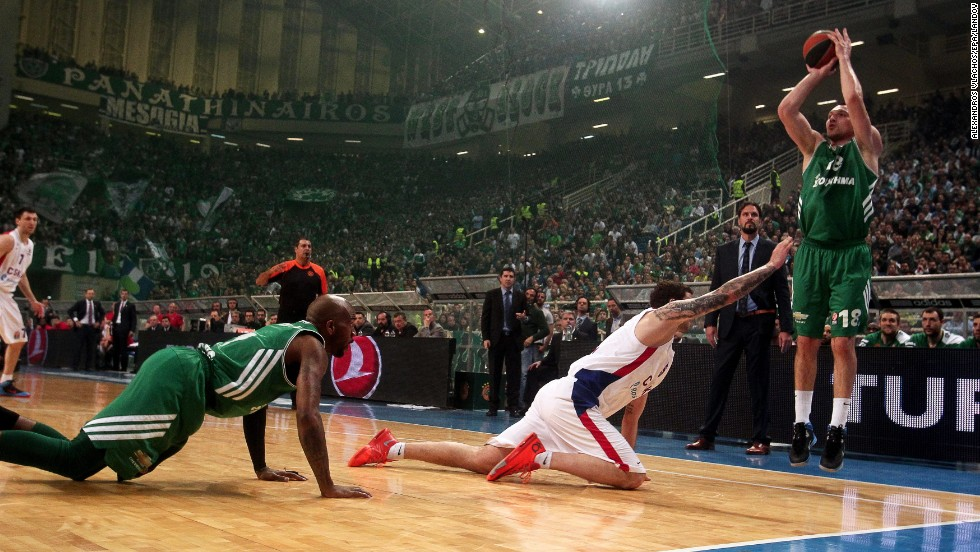 Jonas Maciulis fires a jump shot for Greek basketball team Panathinaikos during their Euroleague playoff game against CSKA Moscow on Wednesday, April 23, in Athens, Greece. Panathinaikos won the game in overtime but lost the quarterfinal series.
