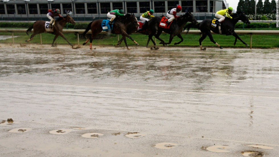 Parts of the course were turned into sodden puddles but the race, as always, still went ahead with Orb proving victorious.