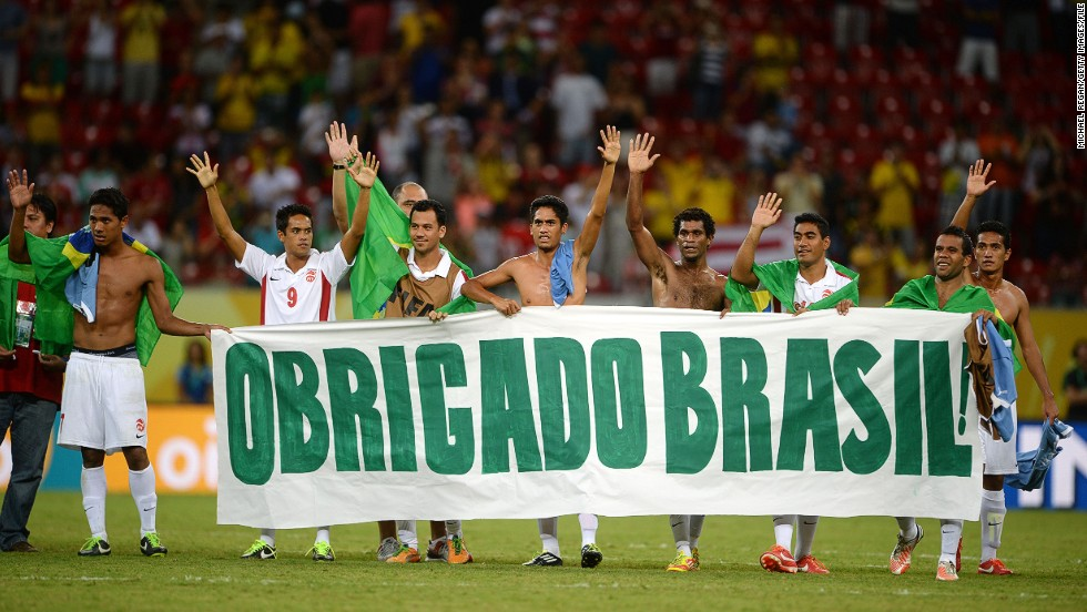 Another thrashing (8-0) followed against Uruguay, but Tahiti thanked their fans with a banner following their final group game at the  Arena Pernambuco.