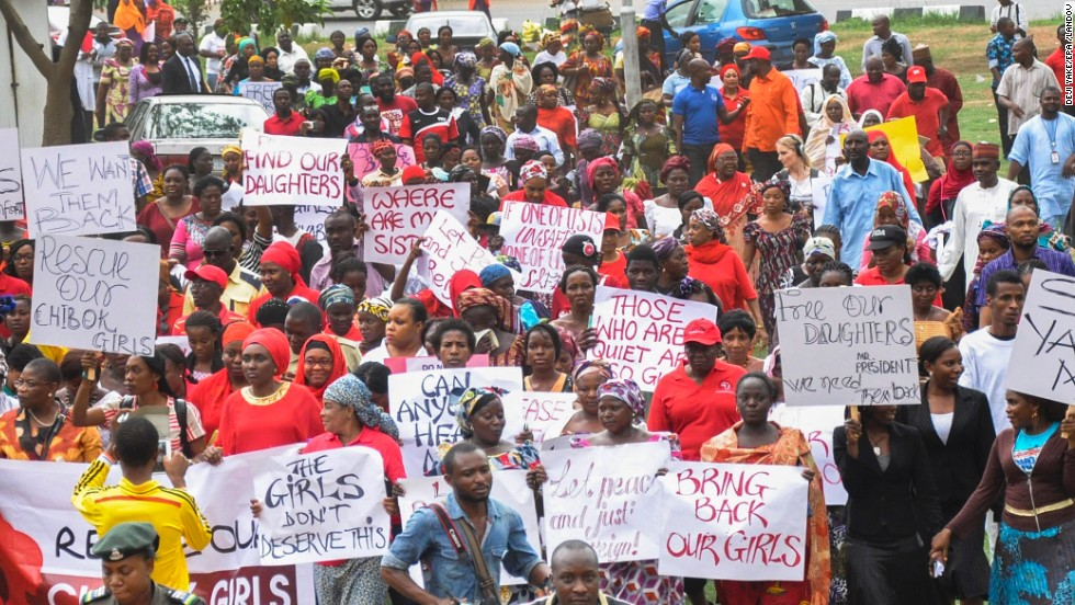 "Protesters take part in a ""million-woman march"" Wednesday, April 30, in Abuja."