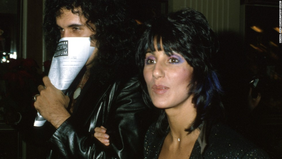 "Among the contributors to Simmons' solo album was his girlfriend at the time, Cher. Here the couple attends the premiere of ""Kramer vs. Kramer"" in December 1979."