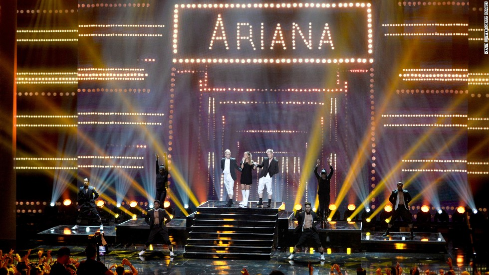 Ariana Grande performs onstage during the 2014 iHeartRadio Music Awards.