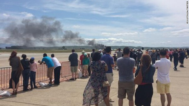 A small plane crashed at Travis Air Force Base in California during the Thunder Over Solano air show.