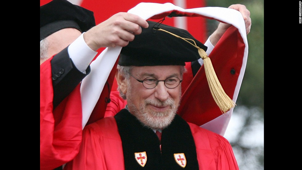 Steven Spielberg, who studied film production and electronic arts at California State University, Long Beach, was awarded an honorary degree from Boston University on May 17, 2009.