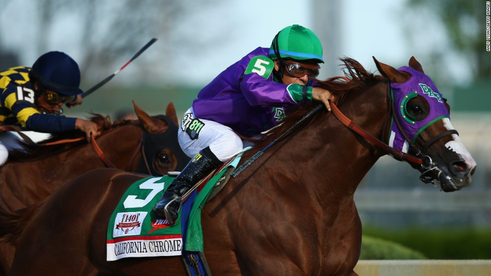 Victor Espinoza rides California Chrome to victory in the Kentucky Derby on Saturday, May 3. California Chrome was the pre-race favorite, entering at 2-1 odds.
