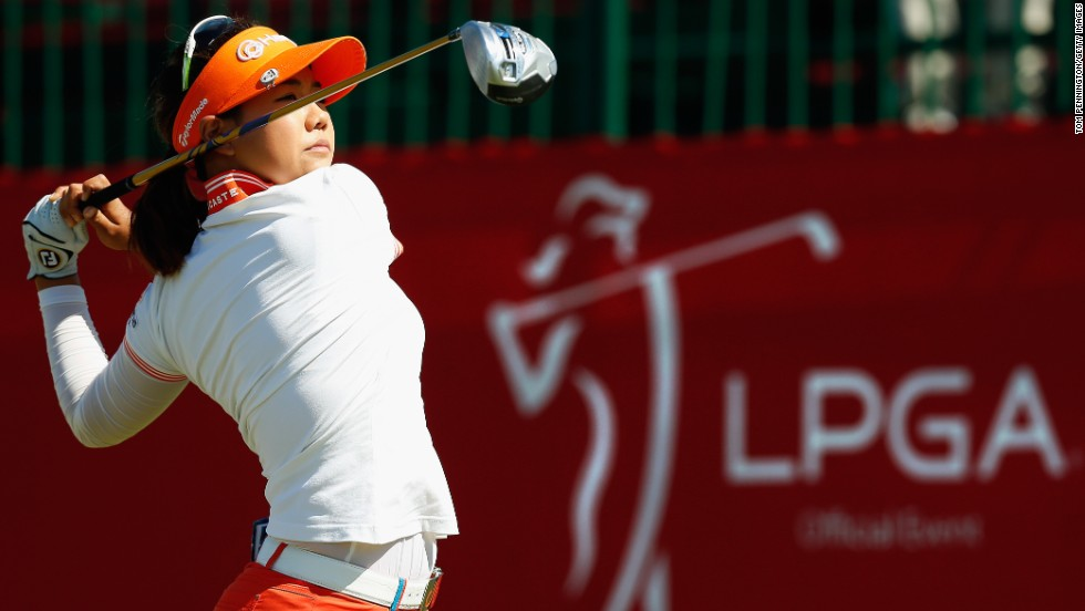 Golfer Jenny Shin hits a tee shot Friday, May 2, during the second round of the North Texas LPGA Shootout in Irving, Texas. Shin finished the tournament eight strokes behind winner Stacy Lewis.