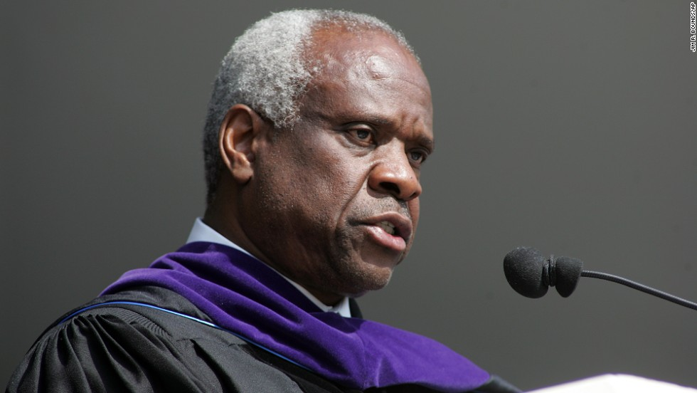 "Supreme Court Justice Clarence Thomas <a href=""http://news.uga.edu/releases/article/justice-clarence-thomas-spring-2008-commencement-address/"" target=""_blank"">gave the commencement speech</a> at High Point University on May 3, 2008. Thomas, who majored in English literature, said, ""Take a few minutes today to say thank you to anyone who helped you get here. Then try to live your lives as if you really appreciate their help and the good it has done in your lives. Earn the right to have been helped by the way you live your lives."""
