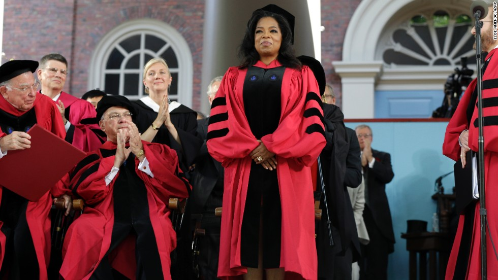 "Oprah Winfrey, who majored in speech and theater, delivered the commencement address at Harvard University on May 30, 2013. ""The key to life is to develop an internal moral, emotional GPS that can tell you which way to go,"" she <a href=""http://news.harvard.edu/gazette/story/2013/05/winfreys-commencement-address/"" target=""_blank"">said</a>."