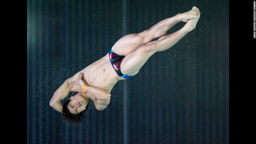 Huo Liang of China competes in the men's 10-meter platform event, which he won Saturday, May 3, at the FINA Diving Grand Prix in Gatineau, Quebec.