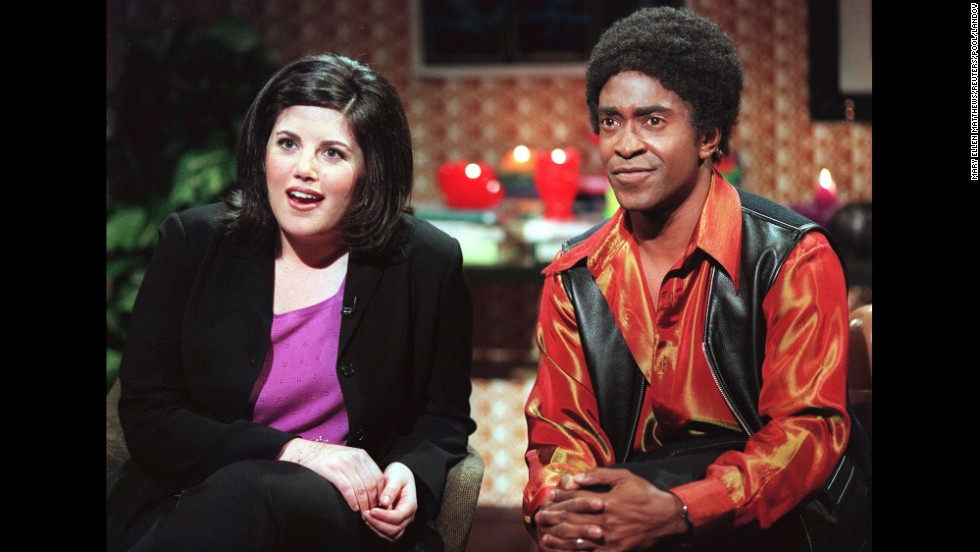 "Lewinsky appears in a ""Ladies Man"" skit with Tim Meadows on ""Saturday Night Live"" in 1999."
