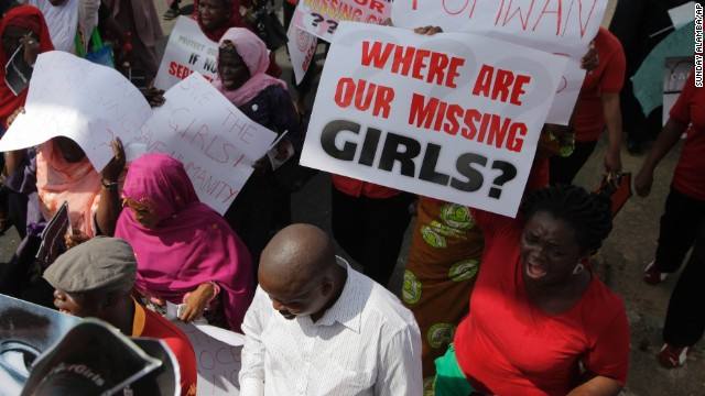 Women attend a mass-demonstration calling on the government to increase efforts to rescue the hundreds of missing kidnapped school girls of a government secondary school Chibok, in Lagos, Nigeria, Monday, May 5, 2014.