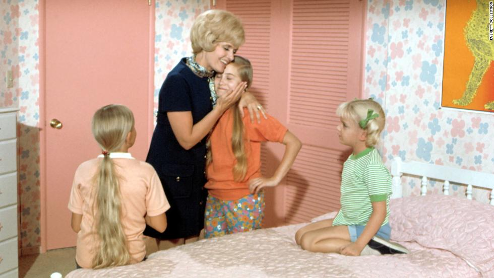 "There are the good, All-American moms. ""The Brady Bunch's"" Carol Brady -- played by Florence Henderson -- always knew the right thing to say and had the warm hug to give. Her daughters -- Jan (Eve Plumb, left), Marcia (Maureen McCormick, center) and Cindy (Susan Olsen) -- looked up to her."