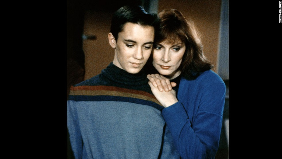 "Dr. Beverly Crusher (Gates McFadden, right) had the mixed blessing of being a mother on the starship Enterprise in ""Star Trek: The Next Generation."" It could be hard taking care of the crew -- and a son, Wesley, played by Wil Wheaton. Of course, the precocious Wesley Crusher always saved the day."