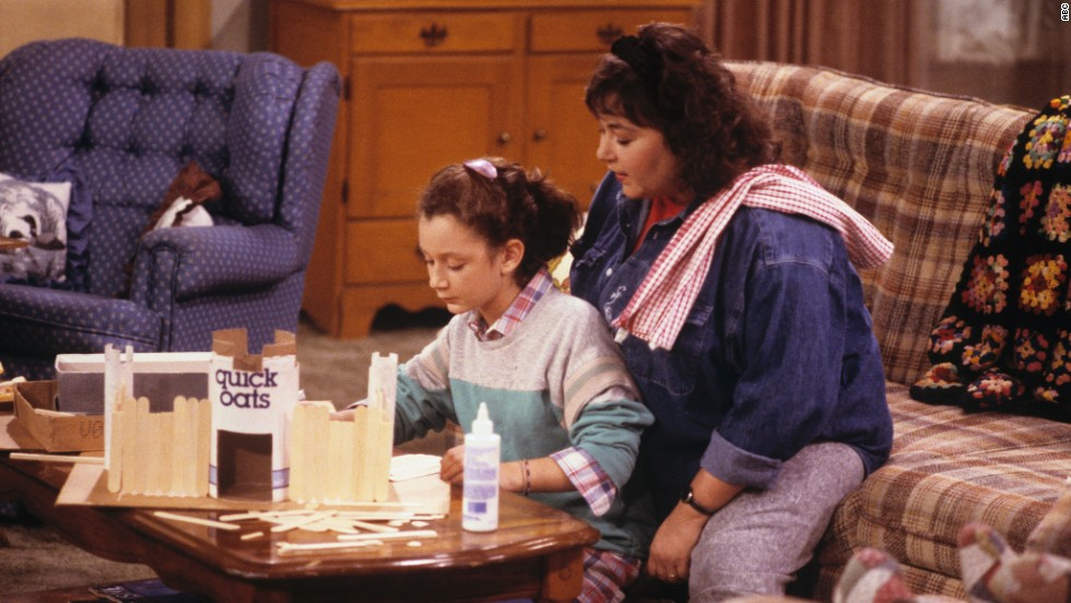 "On ""Roseanne,"" Roseanne Barr (left, with Sara Gilbert) could be brash and sarcastic, but she was good with her children -- often while being brash and sarcastic."