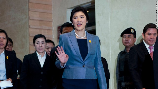 Thai Prime Minister, Yingluck Shinawatra, leaves the Constitutional Court on May 6, 2014 in Bangkok, Thailand.