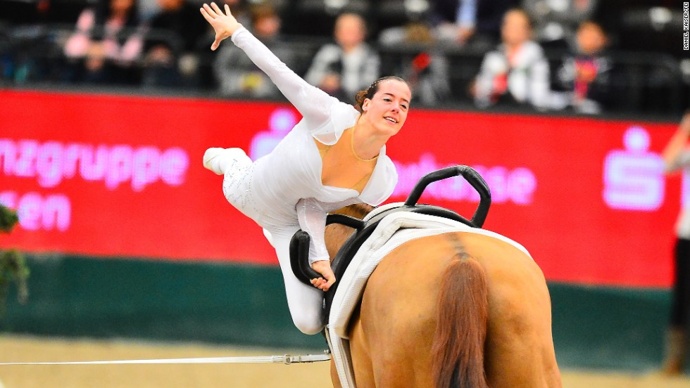 Italy's Anna Cavallaro, seen competing at a vaulting World Cup in the German city of Leipzig, is expected to challenge Eccles for world gold this year.