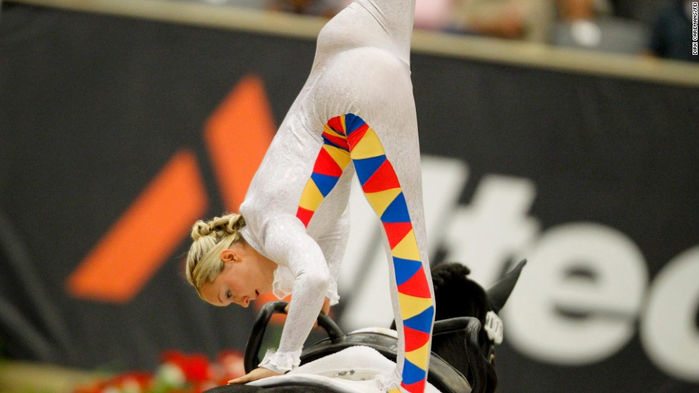 The British equestrian rider won her first vaulting world title in 2010, also on W.H. Bentley.