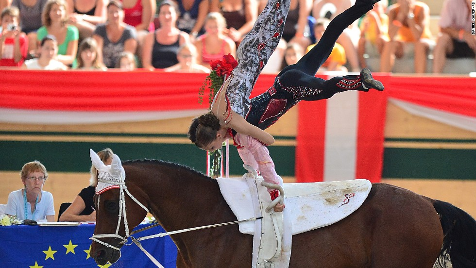 As well as individual and team contests, the pas de deux allows a pair of vaulters to compete at the same time. Austria, pictured, won the 2013 European title with this performance.
