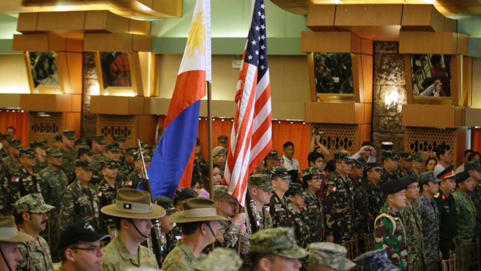 Military officers from the U.S., Philippines, Australia and others at the opening ceremony for the joint U.S.-Philippines military exercise dubbed Balikatan 2014 on May 5, 2014.