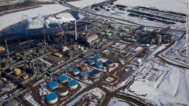 The Suncor Energy Inc. base plant at the Athabasca Oil Sands near Fort McMurray, Alberta, Canada.