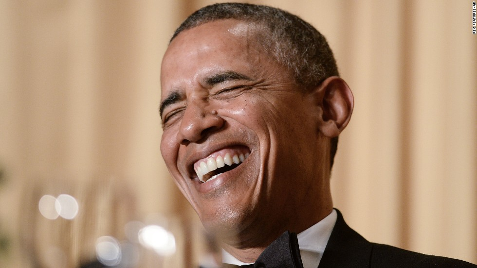 "U.S. President Barack Obama laughs Saturday, May 3, during the annual White House Correspondents' Association dinner in Washington. As is tradition, the President slipped into the role of <a href=""http://www.cnn.com/2014/05/03/politics/washington-correspondents-dinner/"">comedian-in-chief</a> and took playful jabs at journalists, lawmakers, celebrities and even himself."