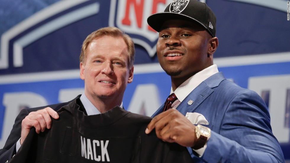 Khalil Mack, a linebacker who played his college ball at Buffalo, was selected fifth overall by the Oakland Raiders.