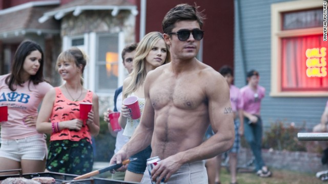 "Zac Efron is sometimes shirtless in his frat-life comedy with Seth Rogen, ""Neighbors."""