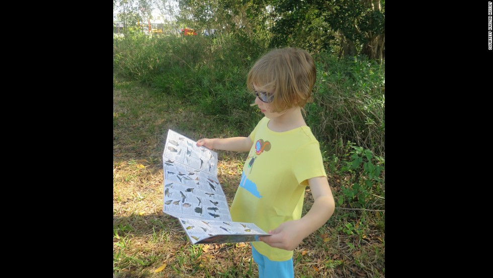 Hussey's daughter will enter kindergarten in the fall, but she took part in many of her older brothers' learning experiences. Here, she worked on identifying birds at Everglades National Park in Florida.