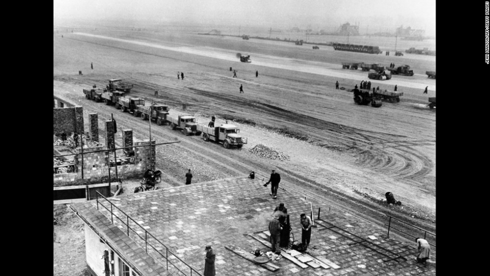 The Berlin Tegel Airport is built in the French zone to support the Berlin Airlift. Built in four months, the airport was, at that time, the largest airport in the world.