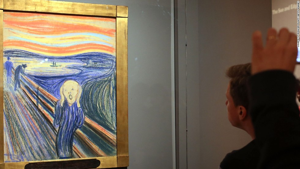"Expressionist artist Edvard Munch created a series of paintings and pastels between 1893 and 1910 which he named <em>Der Schrei der Natur</em> (The Scream of Nature). Now popularly known as ""The Scream,"" the works show a figure with an agonized expression against a landscape with a tumultuous orange sky. This piece, painted by Munch in 1895, was sold in May 2012 for $119.9 million at Sotheby's, New York."