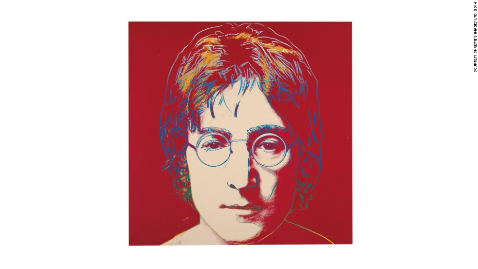 This painting of ex-Beatle John Lennon is up for auction with a price tag of $2,500,000-$3,500,000 at the Post-War and Contemporary Evening sale at Christie's New York. <em>John Lennon</em> was painted between 1985/6 and is marked with the Estate of Andy Warhol stamp.