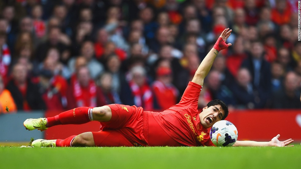 Luis Suarez of Liverpool reacts during the Premier League match against Newcastle United in Liverpool, England, on Sunday, May 11. Liverpool won 2-1.