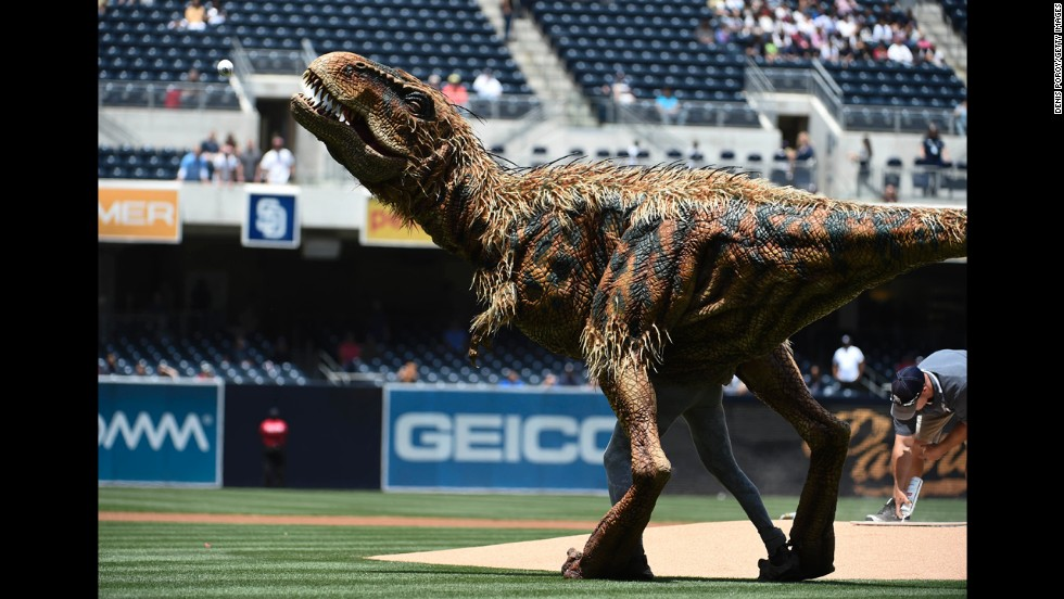 "Baby T from ""Walking with Dinosaurs"" throws out the first pitch before a baseball game between the Kansas City Royals and the San Diego Padres at Petco Park in San Diego on Wednesday, May 7."
