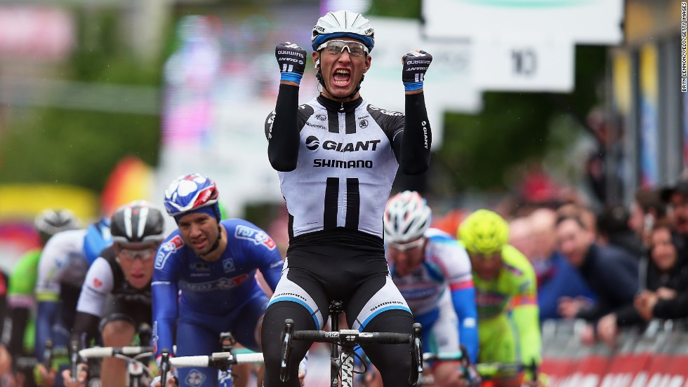 The powerful Marcel Kittel of Germany enjoyed a superb 2014 with victories in the Tour de France and here on the second stage of the Giro d'Italia. The German is another contender for green.