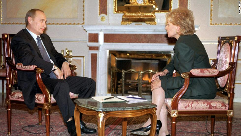 Russian President Vladimir Putin, left, speaks with Walters at the Kremlin in Moscow on November 5, 2001.