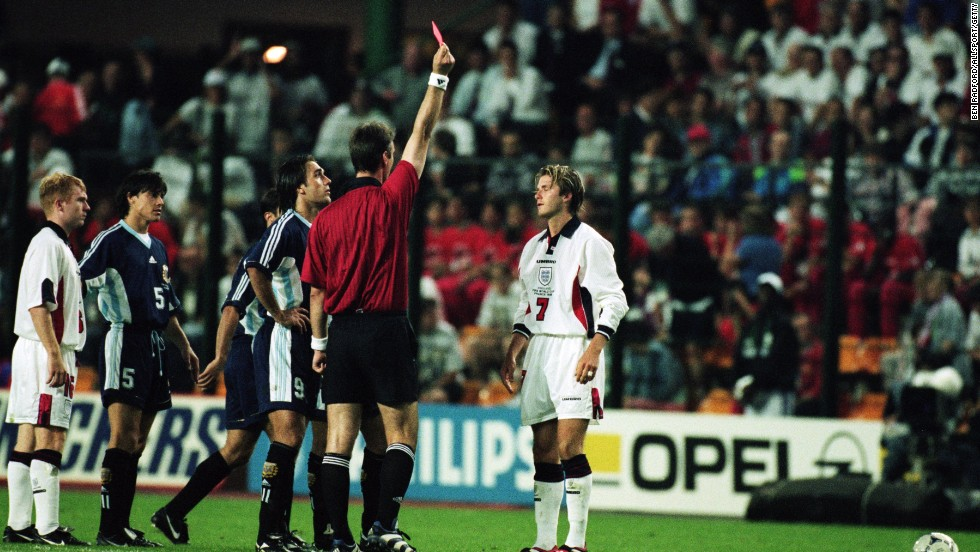 David Beckham's life was turned upside down at the 1998 World Cup when he was sent off during England's last-16 tie with Argentina. The midfielder was red carded after lashing out at Diego Simeone and was largely blamed for his side's failure to progress. The match finished 2-2 after extra-time but England was beaten on penalties.