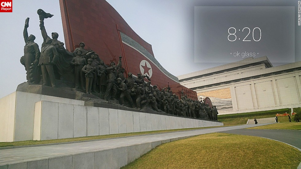 The Mansudae Grand Monument is where North Koreans line up to place flowers at the foot of the gigantic statue of Kim Il Sung.