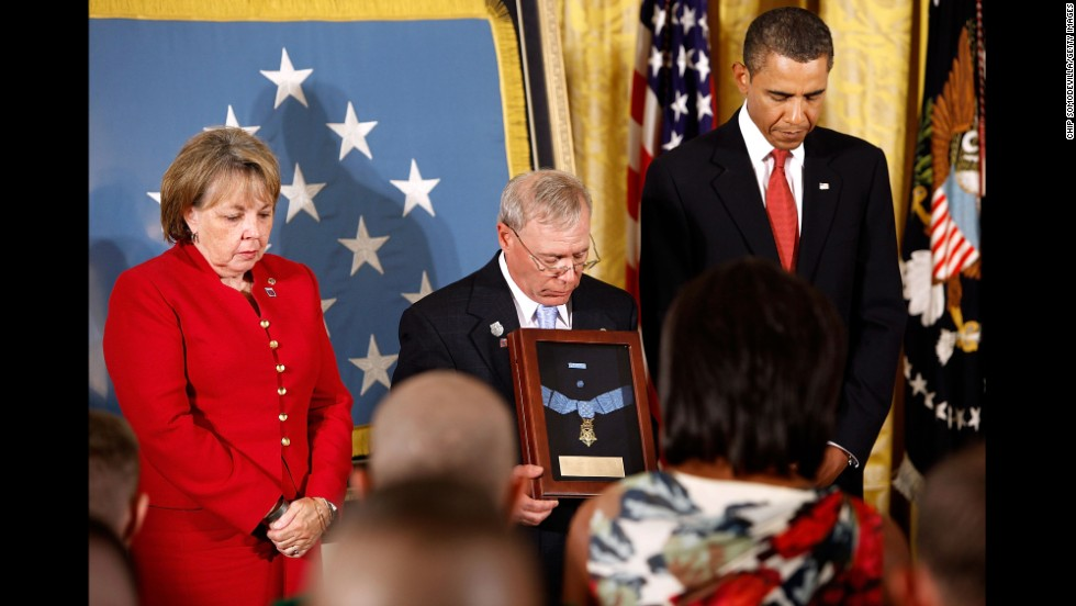 Paul and Janet Monti receive the Medal of Honor for their son, Army Sgt. First Class Jared C. Monti, in September 2009. Monti was killed June 21, 2006, in Nuristan province, Afghanistan, while attempting to rescue one of his fellow soldiers and fighting off an attack from insurgents.