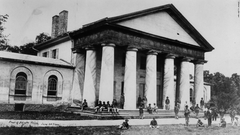Union soldiers at Arlington House, across the Potomac River from Washington on June 28, 1864. It is the former home of  Confederate Gen. Robert E. Lee.