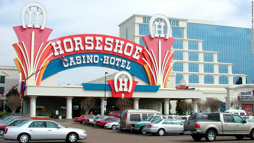 "Neon-lit casinos, like the Horseshoe Casino and Hotel shown here, have transformed impoverished Tunica, Mississippi, into ""the Las Vegas of the South."""