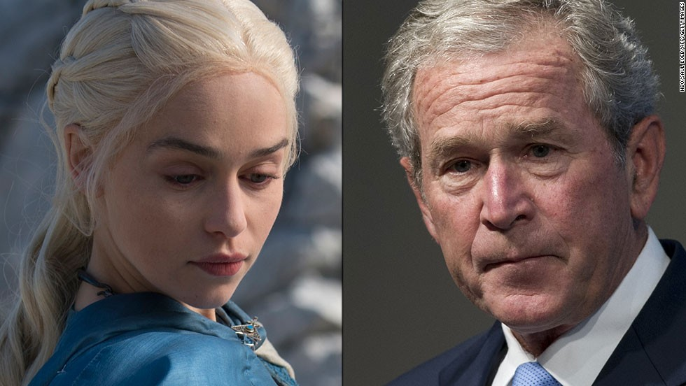 <strong>Daenerys Targaryen / George W. Bush:</strong> Both are children of rulers and members of political dynasties. And both led armies into desert countries — battles they billed as wars of liberation but that turned out to be more complex than they imagined. And both wars hinged on weapons of mass destruction: Bush looked in vain for them, while Daenerys deployed her dragons to seize power.