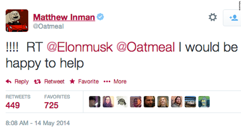 "Hours after Inman's Tesla S review and plea, Musk sent a Twitter message saying he would ""would be happy to help."" Thursday, Inman said he made good on the promise."