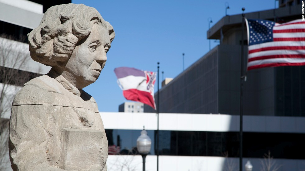 "A statue of <a href=""http://eatocracy.cnn.com/2014/02/18/eudora-welty-and-william-maxwell-food-friendship-and-letters/"">Eudora Welty</a> stands in downtown Jackson. The Pulitzer Prize-winning author was born in the city. She died in 2001 at age 92."