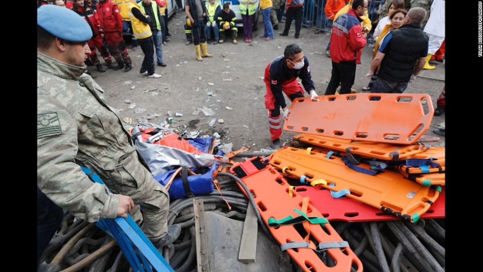 A rescue worker prepares stretchers for the search for miners on May 14.