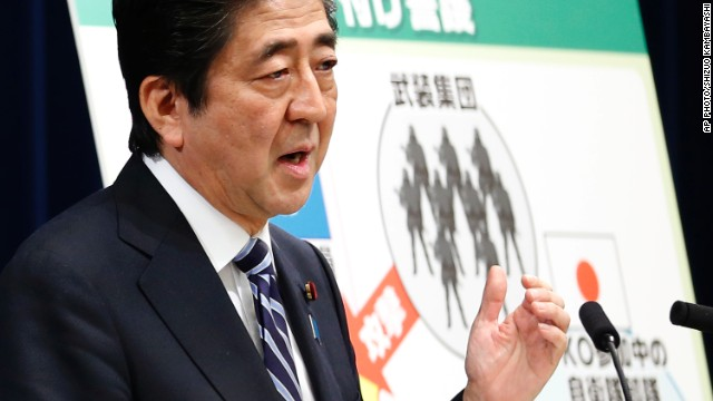 Japan's Prime Minister Shinzo Abe speaks during a press conference at the prime minister's official residence in Tokyo, Thursday, May 15, 2014.