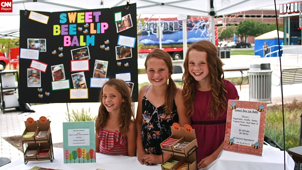 Lily Warren, right, and her two younger sisters, Chloe and Sophie, have been in the beeswax business since 2009. The Littleton, Colorado, sisters make lip balm and lotion bars using the beeswax left over from their parents' hives. They call themselves the Sweet Bee Sisters.